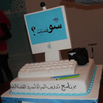 Shou Osstik graduation cake in the shape of a computer and monitor