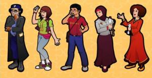 شخصيات مصورة تجسد مهارة كل مجموعة للتدريب