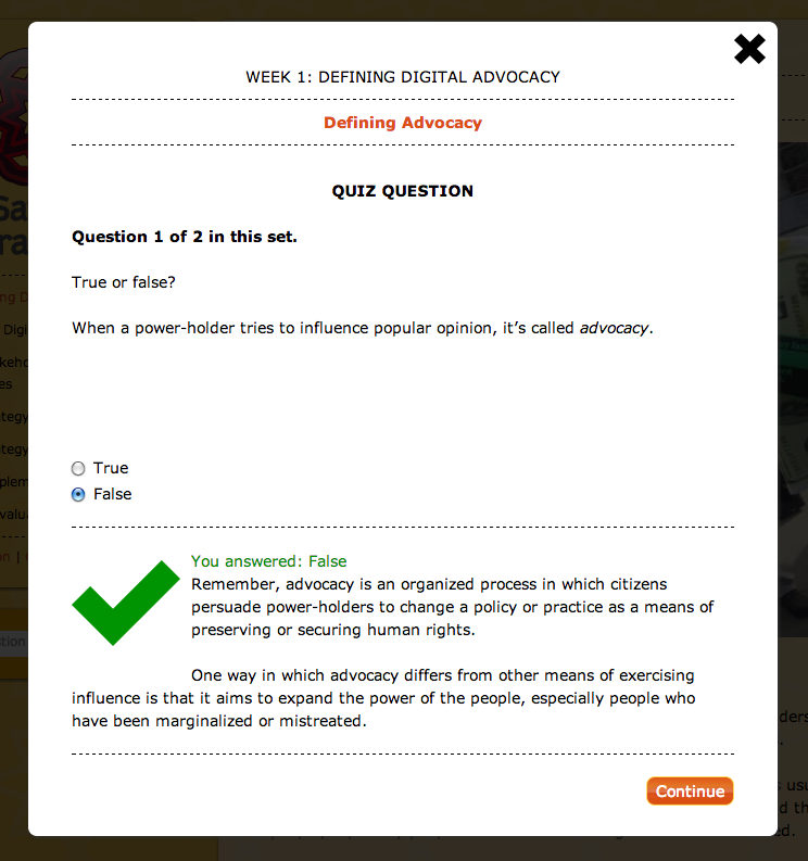 A pop-up quiz page with a correctly answered true-false question.