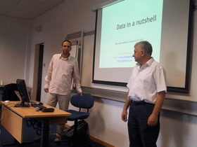 Greek open data geek Michalis Vafopoulos (left) with ISOC Lebanon chair Nabil Boukhaled at the ESA Open Data workshop on May 23.