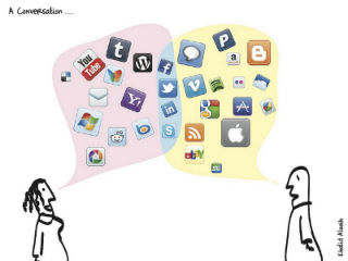 Drawing of two people talking to each other with speech bubbles full of social media icons