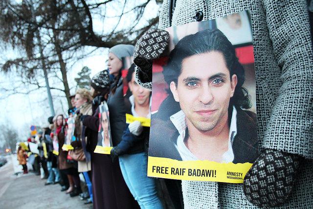 Photo: Protest demanding freeing Raif Badawy – Amnesty International (CC BY 2.0)