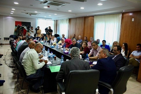"Roundtable discussion on ""Media Freedom in Palestine,"" Palestine Liberation Organization headquarters, Ramallah, June 13, 2017 (MADA)."